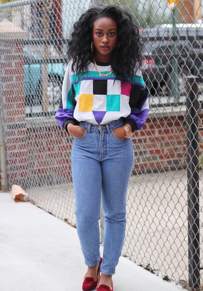 tenue vintage années 90 jean leveis haut retro sweat pastel années 80
