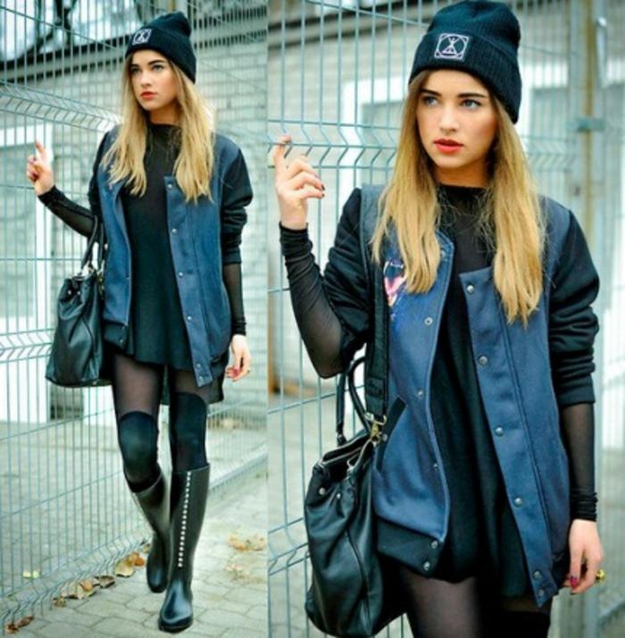 habille swag, chaussons longues et noires, veste en denim et cuir