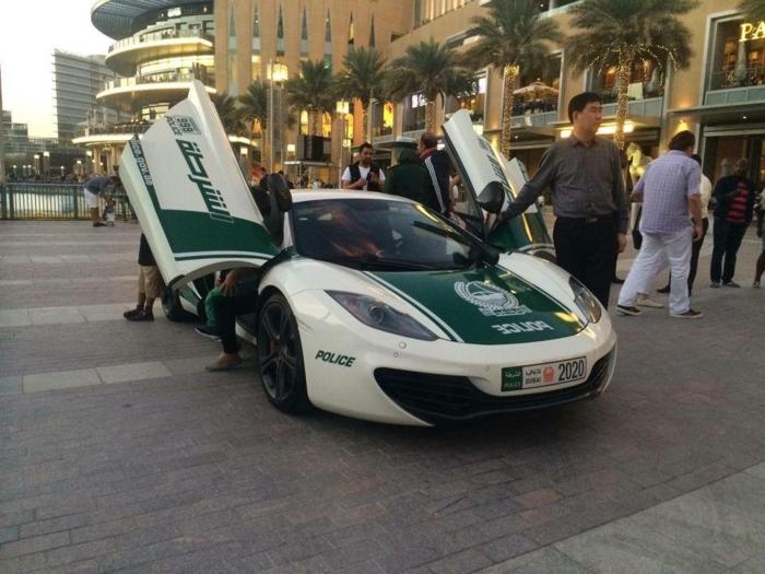 voiture-de-police-a-dubai-véhicule-garé-devant-hotel-de-luxe-palmes-guirlandes-lumineuses