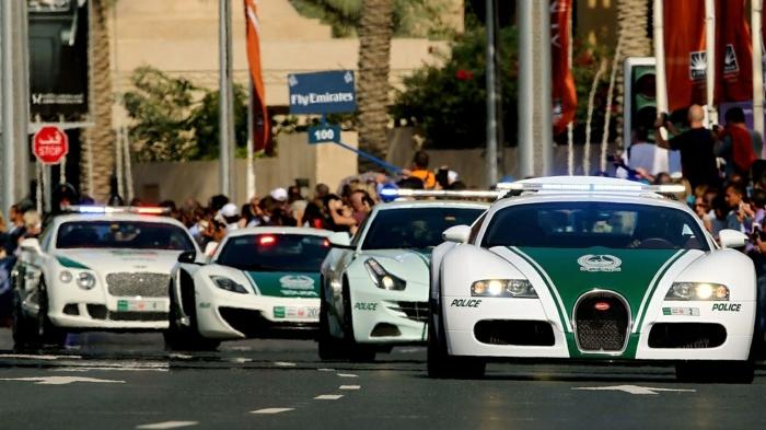 voiture-de-police-dubai-parade-unique-spéctateurs-appareils-photos-palmes