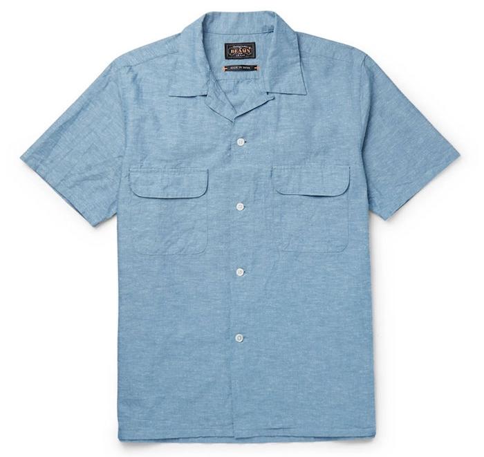 beams plus vetements chemisette homme bleu clair chemise manche courte luxe