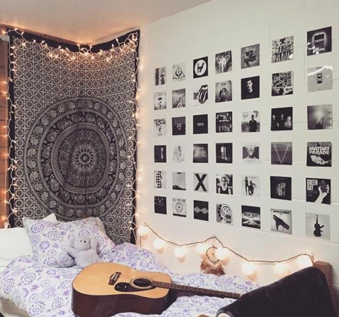 deco murale images et photos, linge de lit blanc à motifs mandala, deco murale toile mandala, guitare, comemnt décorer sa chambre à coucher, idee creation deco