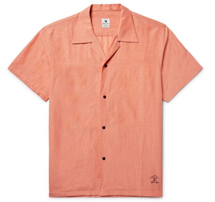 chemisettes hommes orange voile Sasquatchfabrix été chemise homme luxe cintrée manche courte