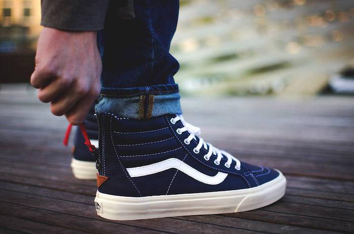 chaussure homme montante skate sk8 zip bleu marine