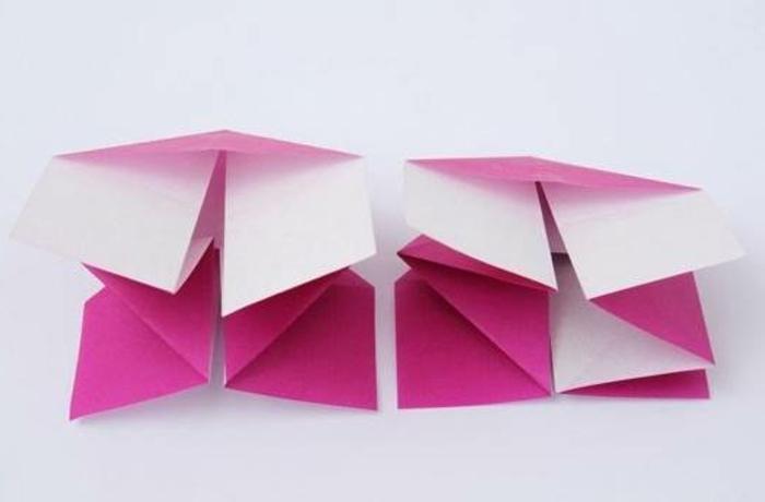 tuto origami, instructions pliage, papier violette, fabriquer une lampe en papier