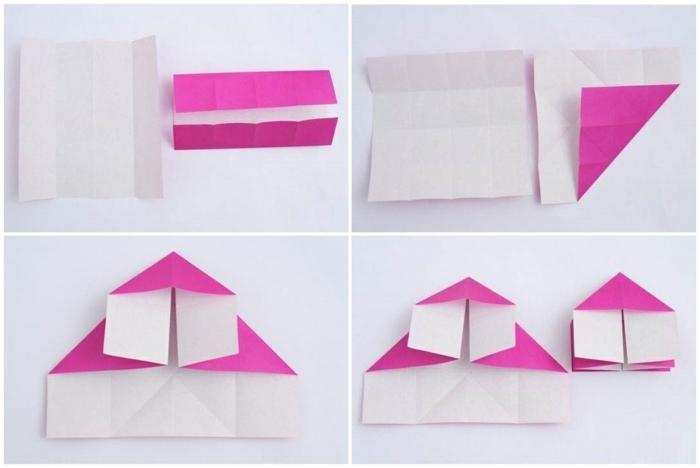 lampe en papier, comment plier les feuilles, papier violette, tuto origami