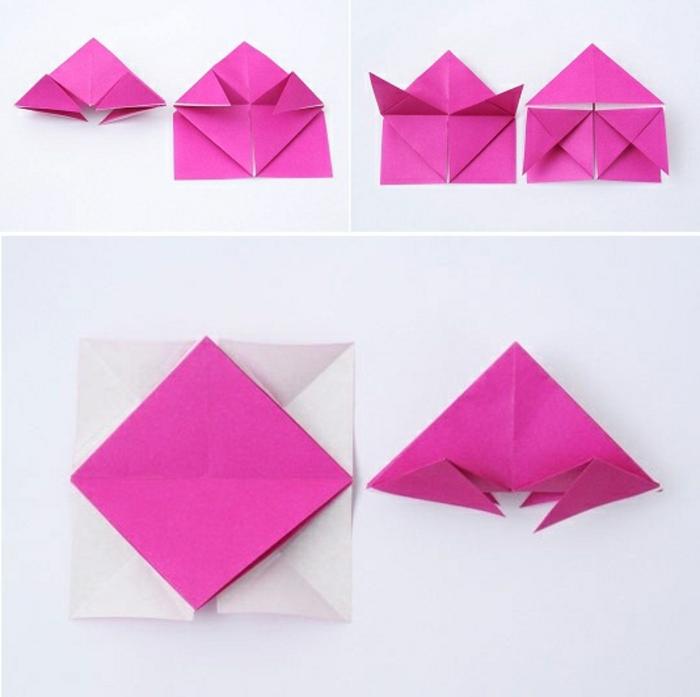 luminaire origami, étapes à suivre, comment plier le papier violette, lampe en papier