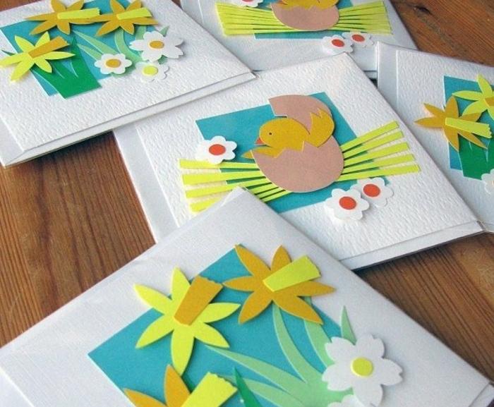 activité manuelle maternelle, scrapbookin technique, des fleurs, jonquilles, oeuf de paques, poussin de paques, en papier, cartes joyeuses paques