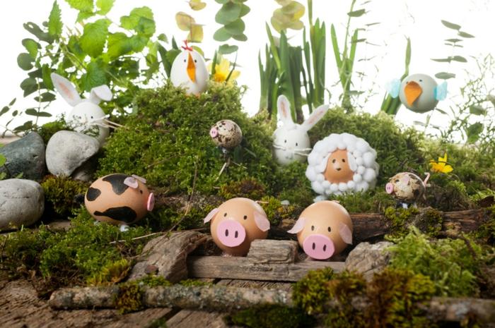 exemple activité manuelle paques, mousse, herbe, petits animaux en coquilles d oeufs, cochons, brebis, lapins, poussins, idée decoration printemps, activité manuelle paques
