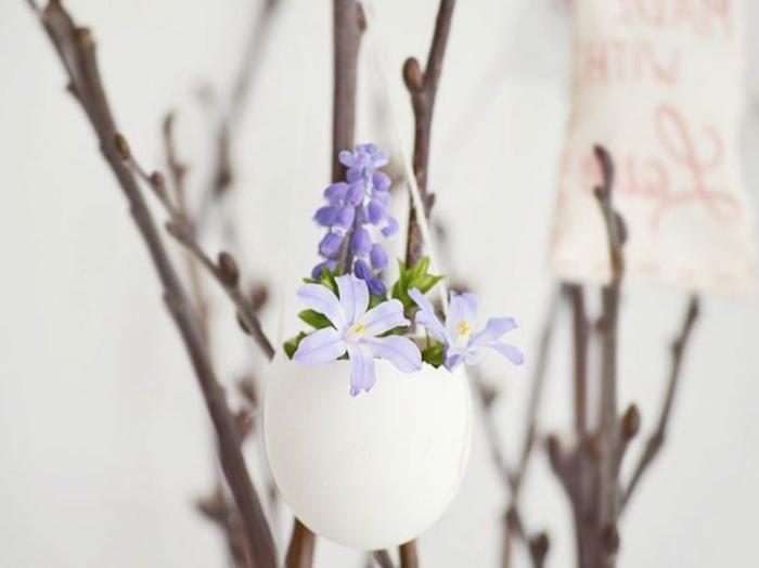 activité manuelle printemps un petit vase rempli de fleurs fraîches accroché à une branche d arbre, coquille oeuf projet deco