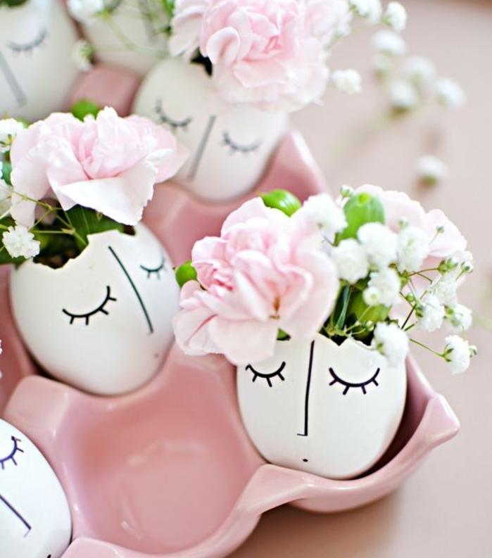 activité manuelle printemps, coquille d oeuf customisée à l aide d'une feutre et remplie de bouquet de fleurs fraîches