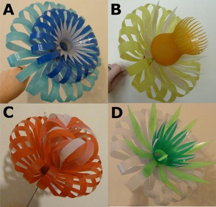 activité manuelle recyclage bouteille plastique, fleurs en plasique colorée