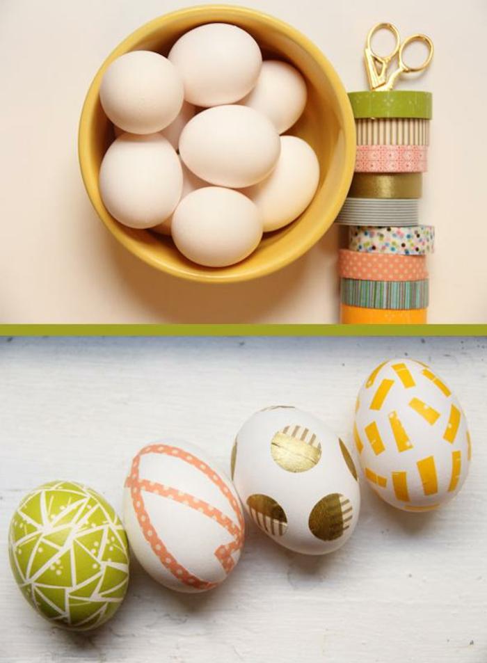 Faire des oeufs de paques originale idée déco washi tape
