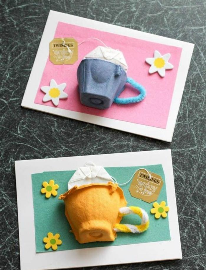 activité manuelle printemps, cartre joyeuse paques, alvéoles boite à oeufs gris et orange, petites tasses à café, fleurs, sachets de thé