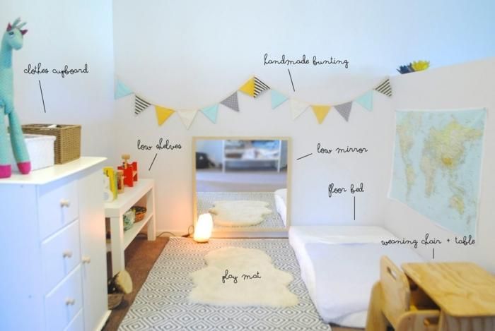 chambre montessori, aménagement, tapis blanc à motifs noirs, peinture couleur blanche, bureau, chaise en bois, commode blanche, miroir, matelas au sol, guirlande à fanions, rangements bas