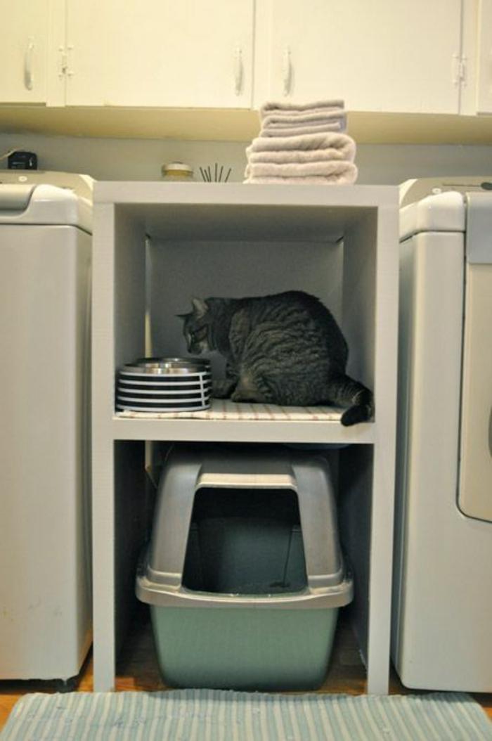 aménager sa buanderie petit coin de chat entre les deux laveuses