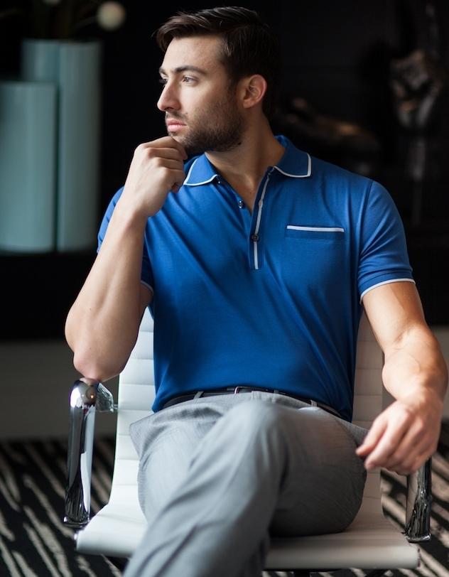 polo style année 50 homme bleu avec poche