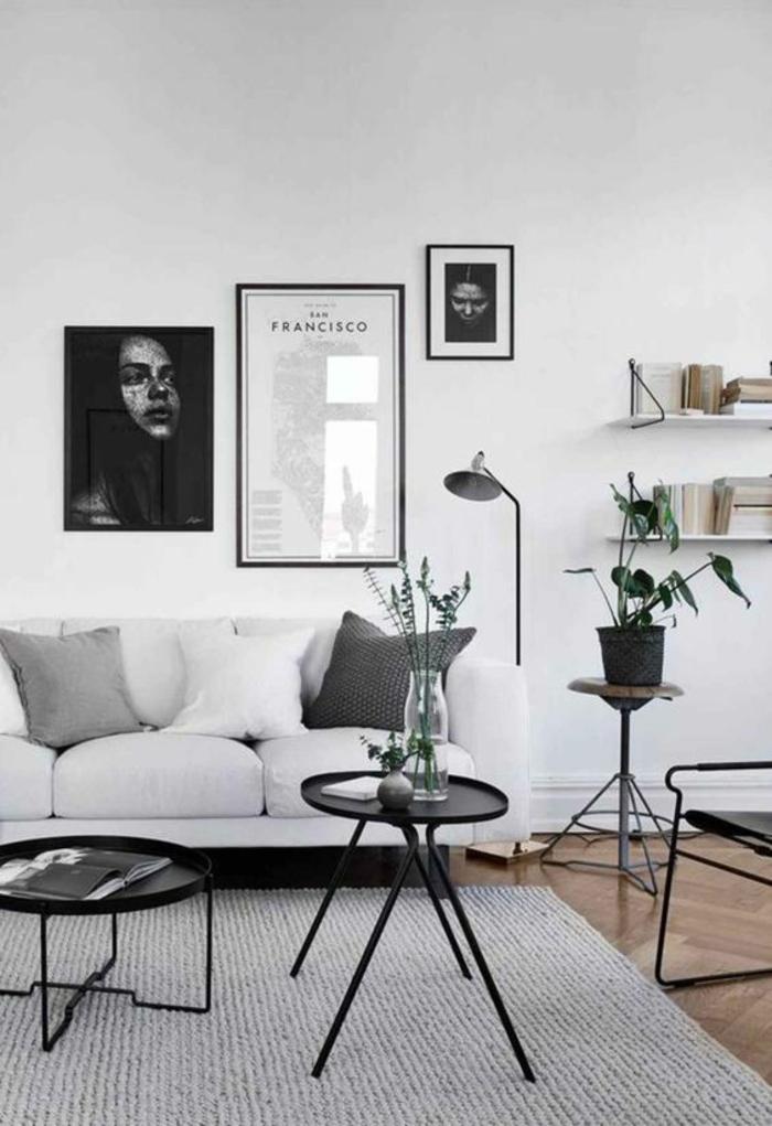 appartement minimaliste, salon en gamme monochrome, portrait sombre, petites tables basses