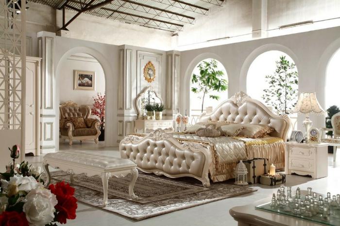 meubles de charme, chambre baroque, lit king size, colonnes décoratives