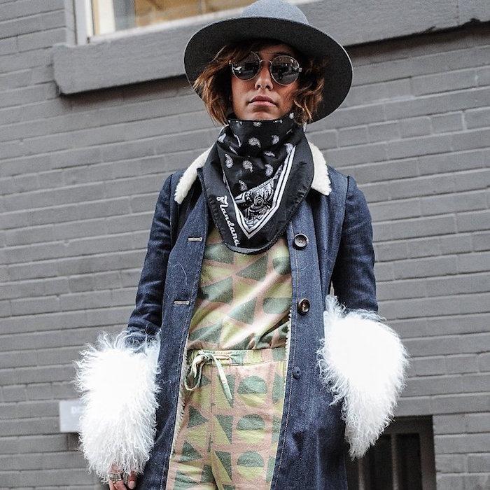 acheter bandana noir pas cher avec motifs foulard