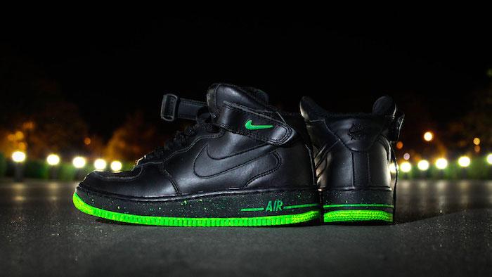 sneakers montante nike air force noir vert fluo