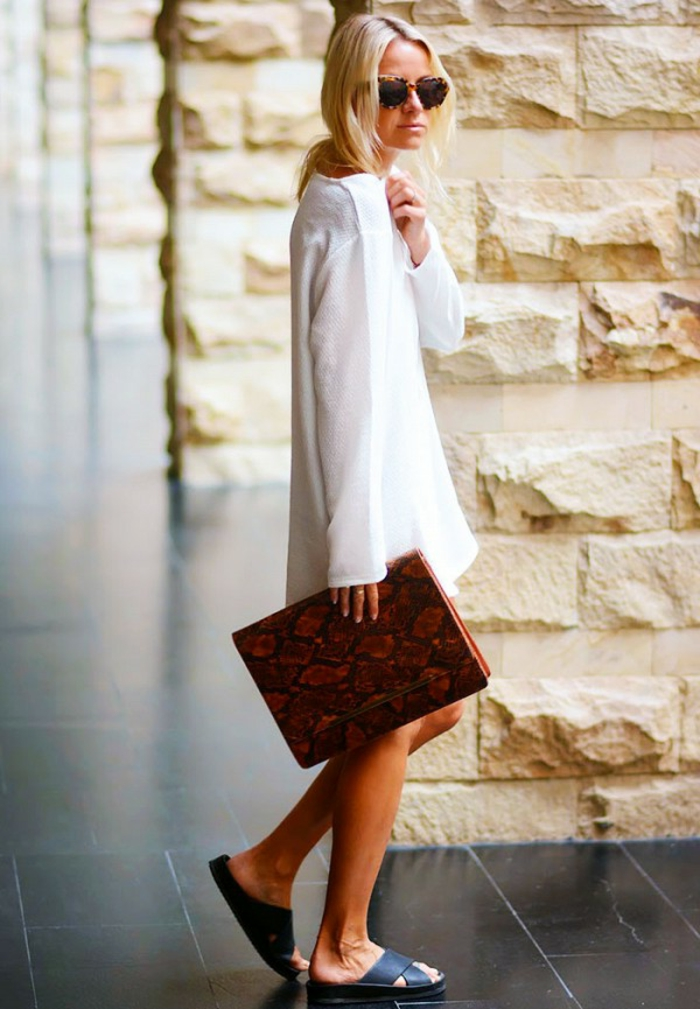 Robe blanche demi saison femme idée comment bien habillée