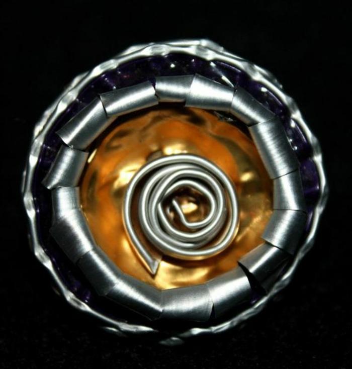 bijoux avec capsules nespresso, bague jaune et argenté
