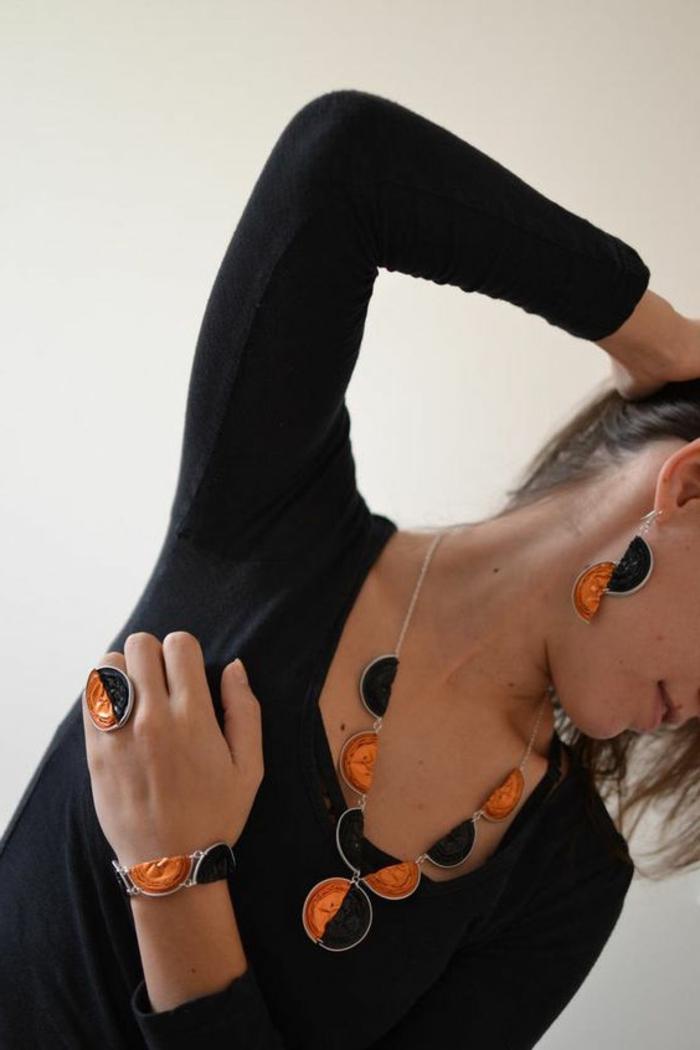bijoux capsule nespresso, boucles d'oreilles, collier et bague
