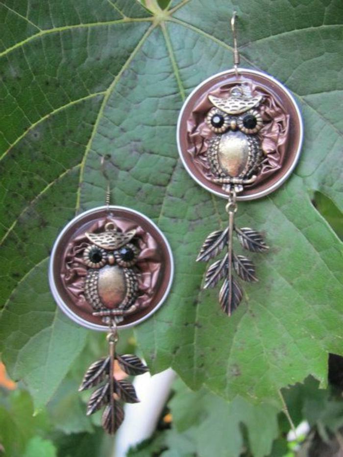 bijoux capsules nespresso, boucles d'oreilles hiboux