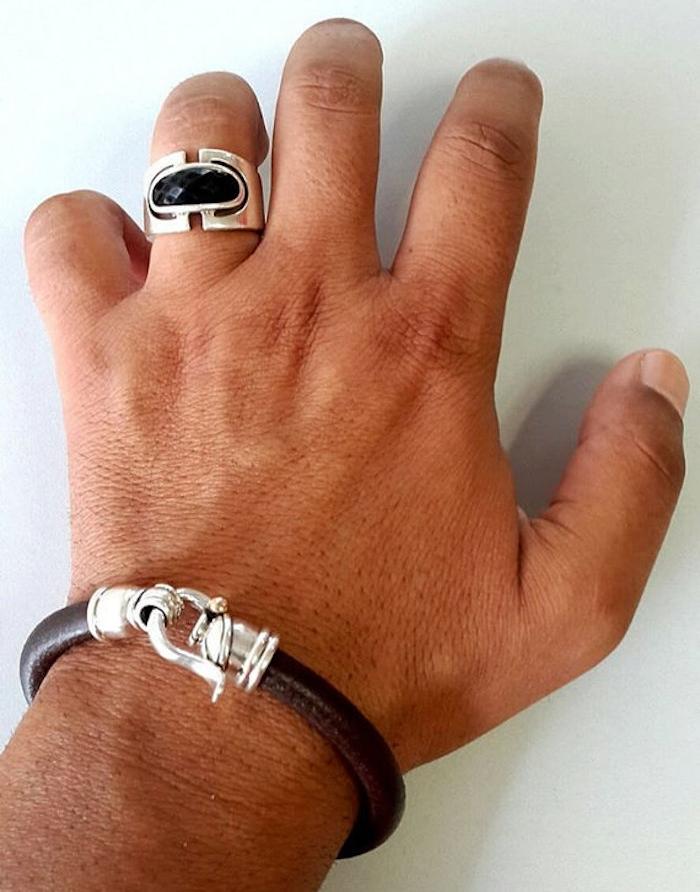 bijoux cuir hommes argent et cuir marron