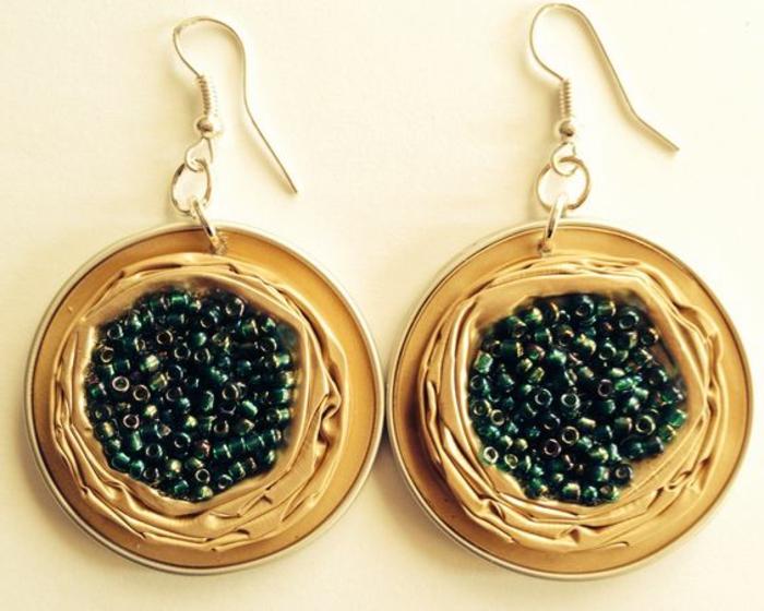 bijoux en capsules nespresso, boucles d'oreilles jaunes
