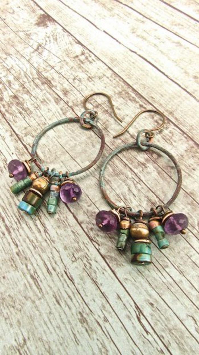 boucle d'oreillle diy style boho en anneaux et perles originales