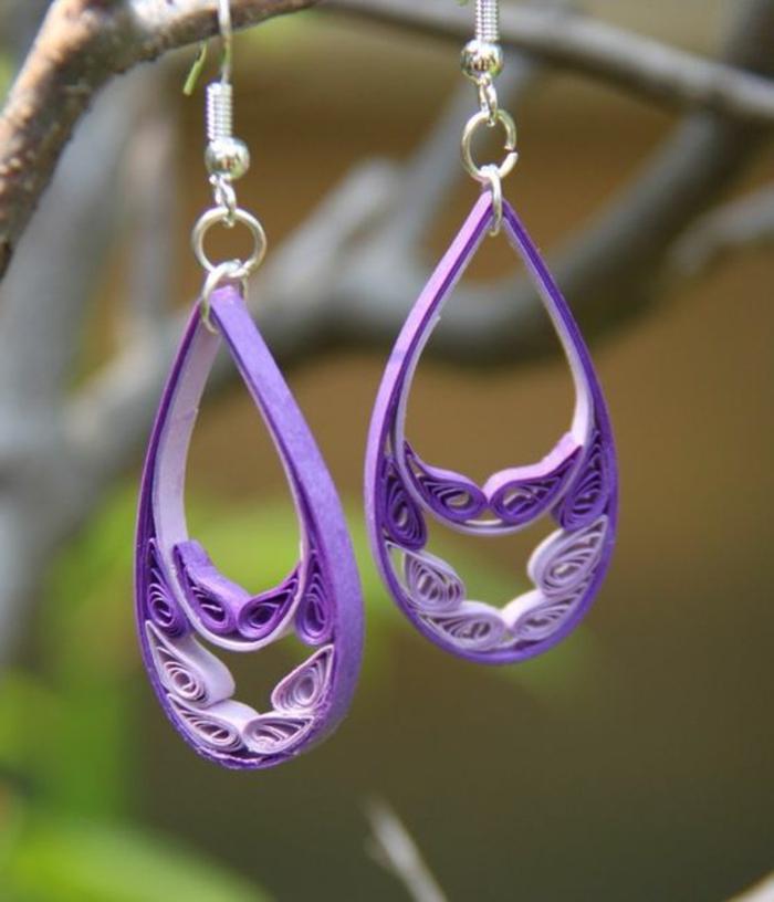 boucle d'oreillle diy, pendentifs lilas en papier quilling