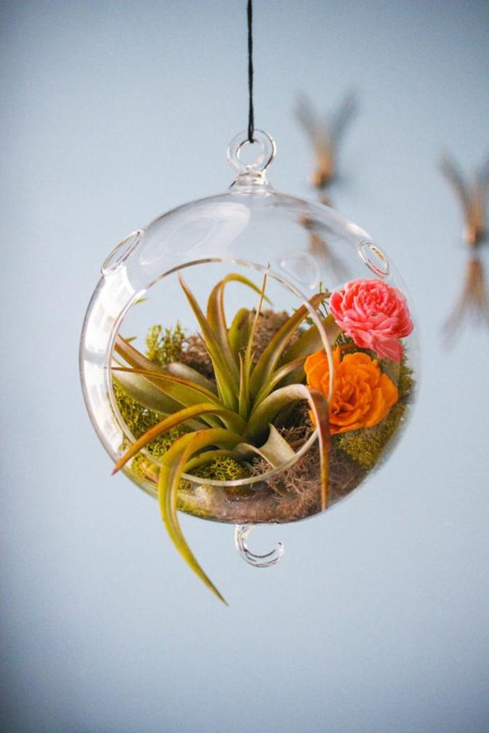 terrarium suspendu, roses artificielles, boule en verre à suspendre, corde noire