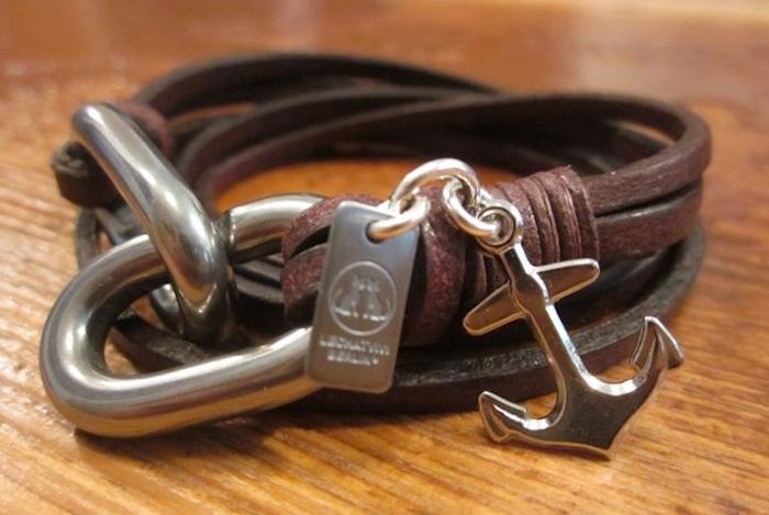 bracelet homme cuir et ancre en argent
