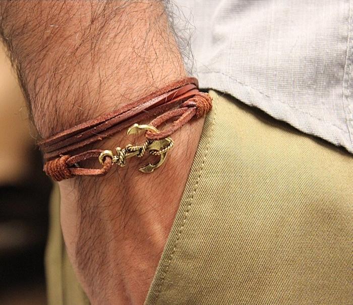 bijou homme en cuir bracelet fin ancre
