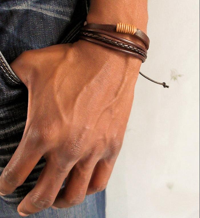 bracelet cordon homme en cuir marron