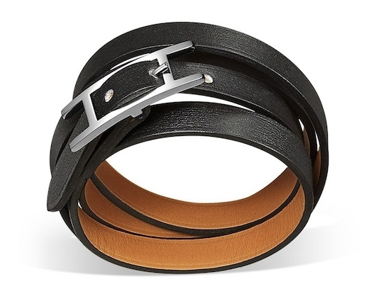 bracelet hermès en cuir noir de luxe