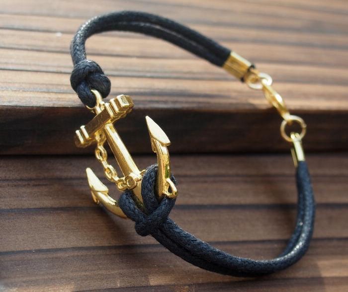 bracelet homme cuir fin noir et ancre or
