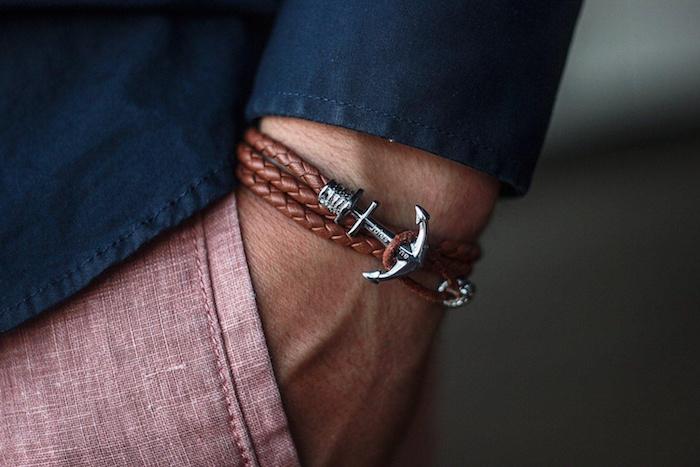 bracelet ancre homme en cuir marron