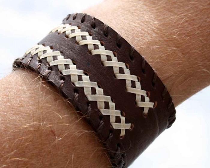 bracelet homme artisanale tressé en cuir