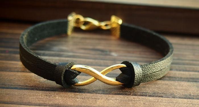 bracelet homme cuir noir et or