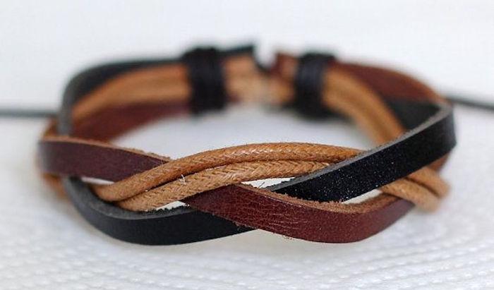 bracelet cuir homme tressé marron et noir