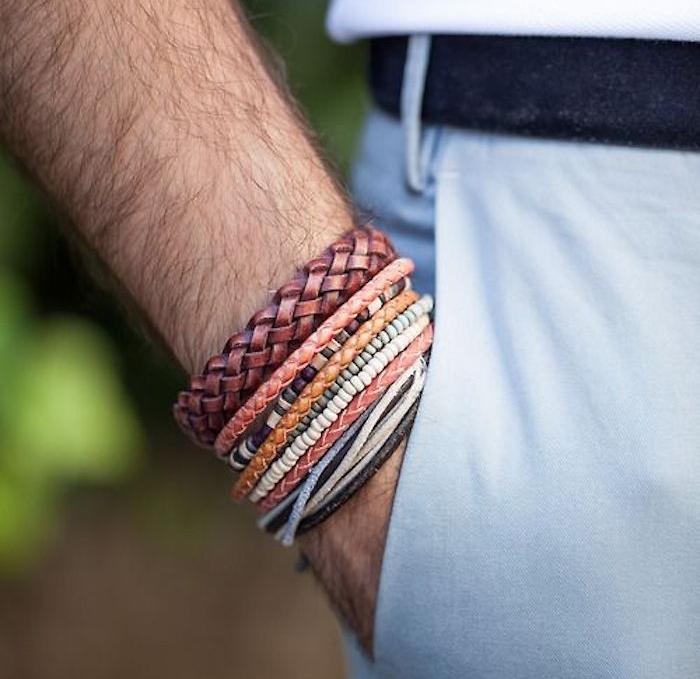 bracelets homme en perle et cuir multicolores