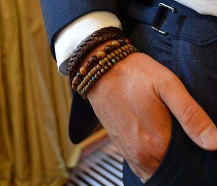 bracelet perle homme et cuir pour homme style