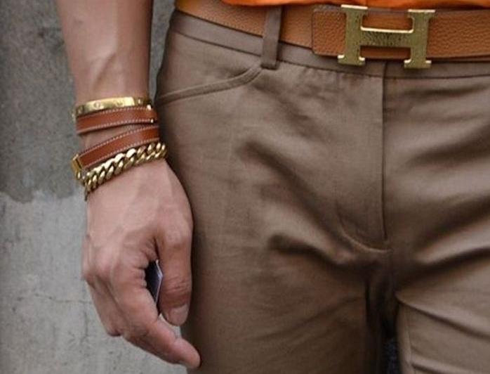 bracelet hermes homme en cuir et or marron