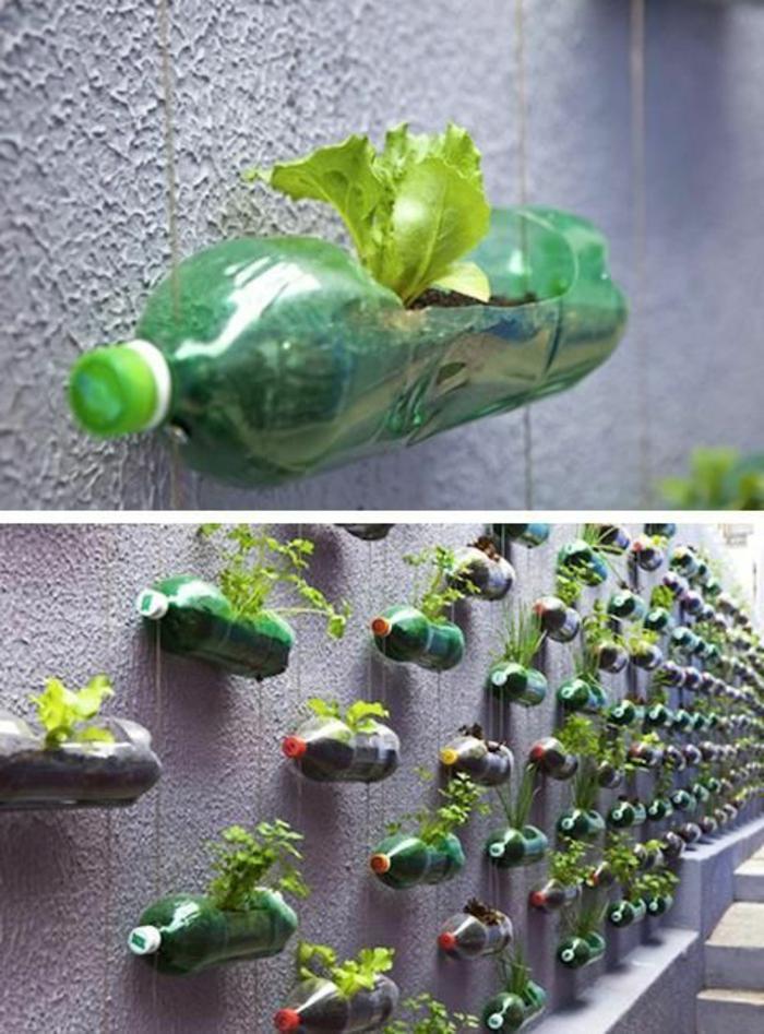 bricolage avec bouteille plastique, pots de fleurs bouteilles suspendues