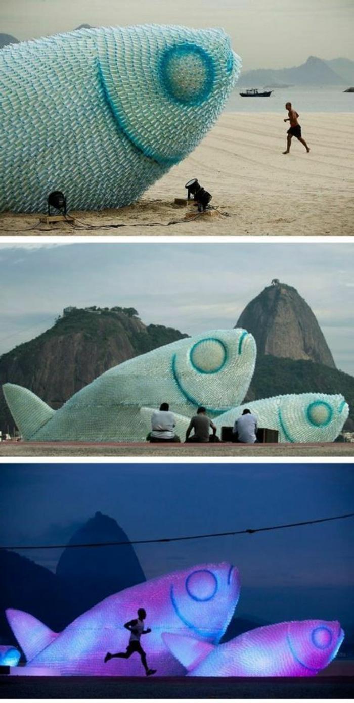 bricolage avec bouteille plastique, géantes poissons en bouteilles plastiques