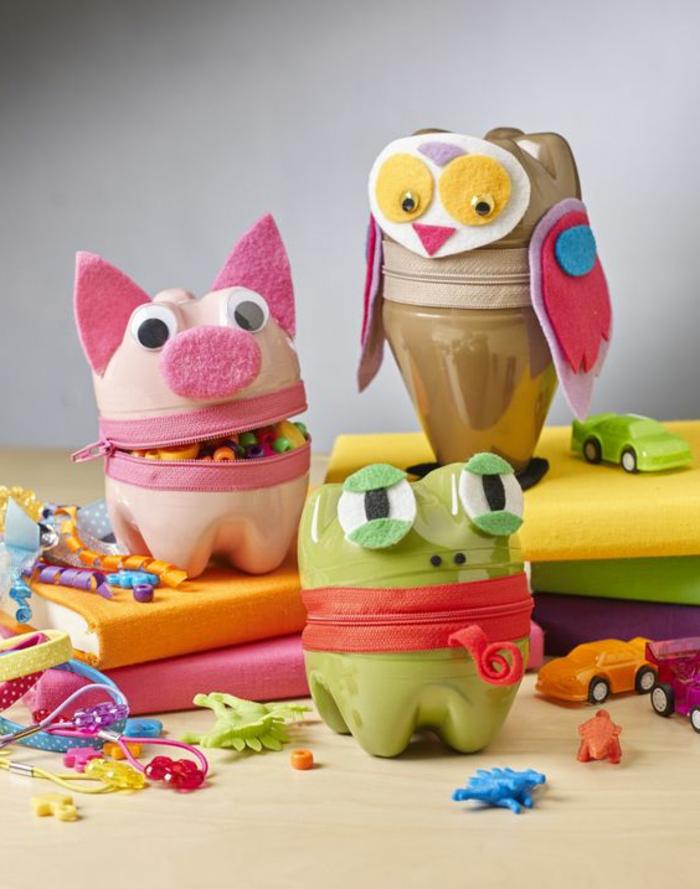 bricolage bouteille plastique, animaux sympathiuqes faits avec des bouteilles plastiques