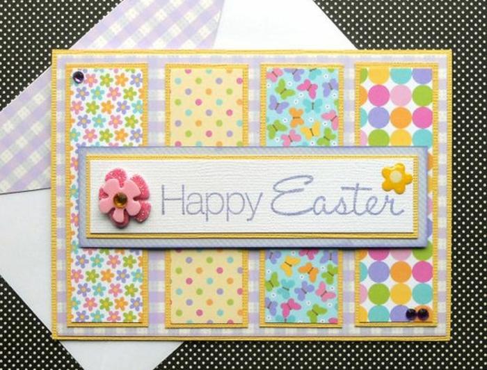 carte de paques multicolores, plusieurs motifs, fleurs, papillons, petits points, grands points, inscription joyeuses paques